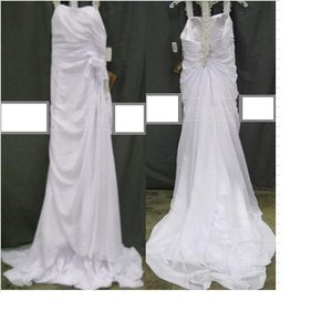 LightInTheBox White Laced Bowed Traditional Wedding Dress Size 10 (M)
