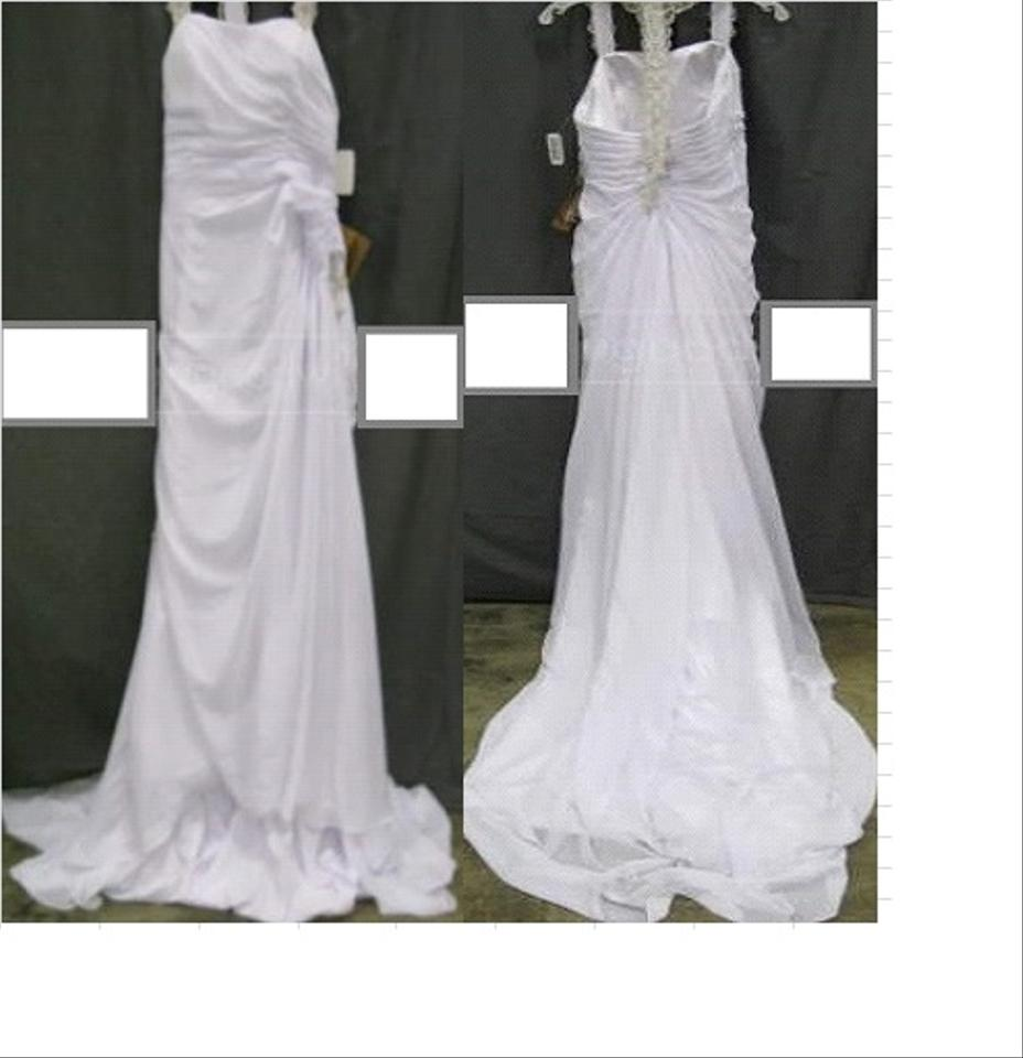 LightInTheBox White Laced Bowed Traditional Wedding Dress Size 10 M