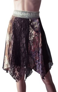 Boho Bohemian Hippy Hippie Skirt Brown, pink, lavender, cream