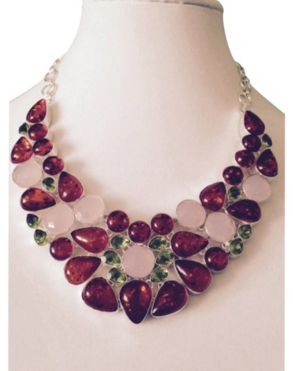 Preload https://item2.tradesy.com/images/bluegreenhoneypinksilver-embellished-by-leecia-statement-necklace-4591081-0-0.jpg?width=440&height=440