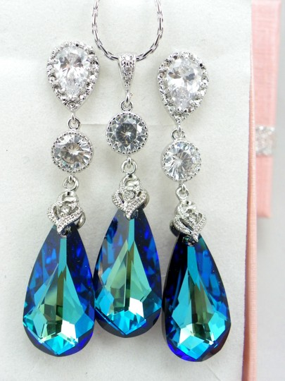Bermuda Blue Swarovski Crystal Teardrop Sterling Silver Earrings And Necklace Bridal Set Jewelry Jewelry Peacock Jewelry