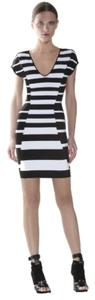 Hervé Leger Bodycon Bold Stripe Mini Dress