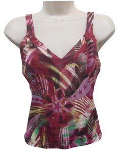 Versace Vintage Sleeveless Colorful Date Night Sexy Print Party Top Fuchsia Multi/Print