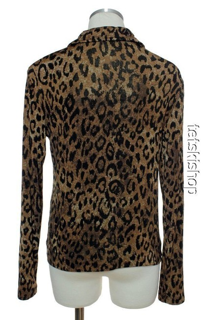 Chico's Stretch Leopard Print Brown Jacket