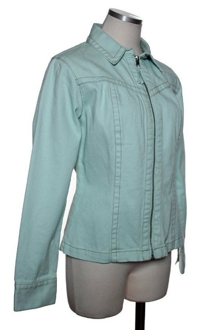 CAbi Full-zip Woven Mint Green Womens Jean Jacket