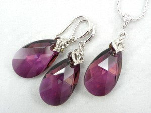 Lilac Shadow Swarovski Crystal Teardrop Earrings And Necklace Hypoallergenic Rhodium Earrings Purple Shade Teardrop