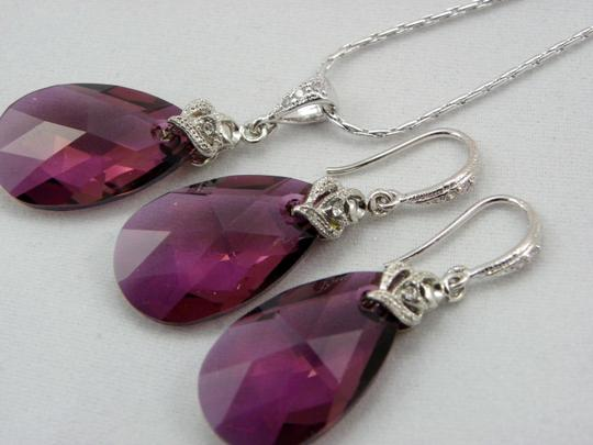 Lilac Purple Shadow Swarovski Crystal Teardrop Earrings and Necklace Hypoallergenic Rhodium Earrings Shade Teardrop Jewelry Set