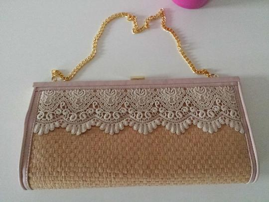 Other Straw Lace Sweet Clutch Gold Shoulder Bag