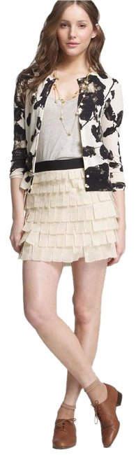 J.Crew 100% Silk Woven Tiered Mini Skirt Beige