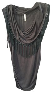 Tassels Fringe String Top Grey