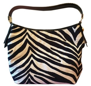 Antonio Melani Zebra One Fabric Leather Gold Hardware Satchel in Zebra Print