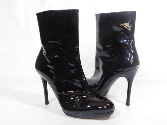 Stuart Weitzman Patent Leather Ankle Black Boots