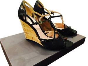 Prada Satin Leather Trim Sandal Black, Nero Wedges