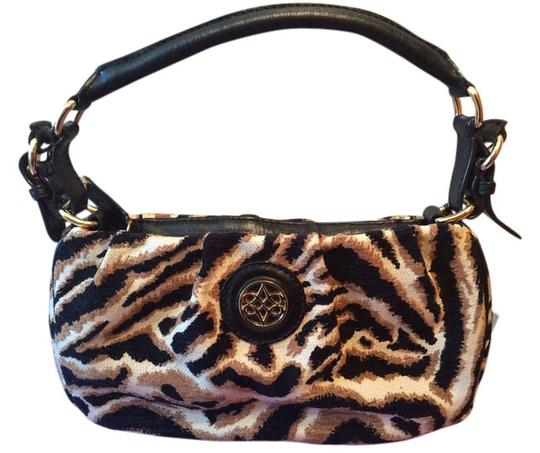 Antonio Melani Italian Leather Fabric Gold Black Beige New With Tags New Shoulder Bag
