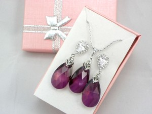 Lilac Shadow Swarovski Crystal Teardrop Earrings And Necklace Sterling Silver Earrings Purple Shade Teardrop Pendant