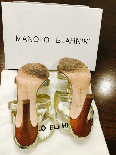 Manolo Blahnik Leather Strappy Gold Sandals