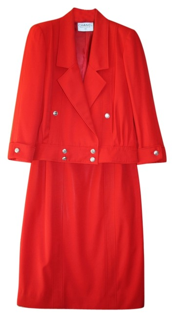 Item - Red Gaberdine Perfect For The Holidays Double Breasted Skirt Suit Size 8 (M)