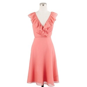 J.Crew Pink Chiffon Macie In Bridesmaid/Mob Dress Size 10 (M)