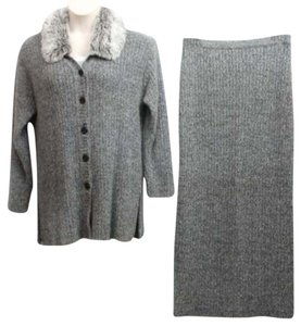 CURCI CURCI ITALY BUTTONED WOOL ANGORA FAUX FUR COLLAR CARDIGAN KNIT SKIRT SUIT XL