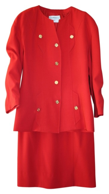 Item - Red Wool Crepe Perfect For Holidays Military Inspired Skirt Suit Size 8 (M)