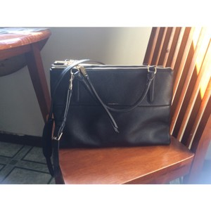 Coach Leather Classic Zippers Compartments Pebbled Satchel in Black