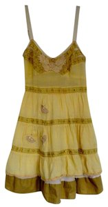 Free People short dress Light yellow/gold Sleeveless Cotton on Tradesy