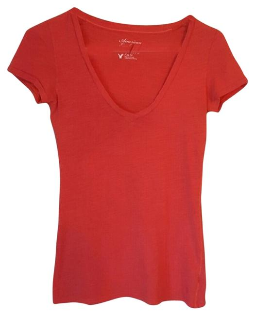 American Eagle Outfitters V-neck Casual T Shirt orangish red