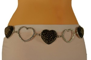 Other Women Belt Hip Waist Silver Metal Chain Hearts Leopard Charms Fashion