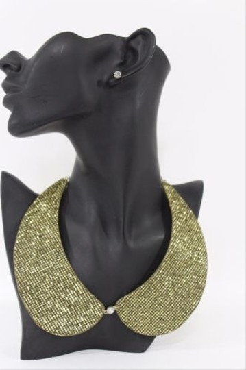Other Women Black Gold Sequins Glitter Collar Bib Necklace Fashion Stud Earrings