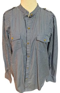 Ralph Lauren Vintage Button Down Shirt Blue white/Stripe
