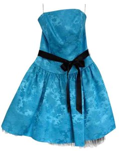 Jessica McClintock Floral Blue Homecoming Cocktail Juniors Dress