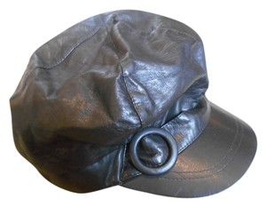 Nine West Nine West Newsboy Cap Hat Quality Satin Lined Brown Leather