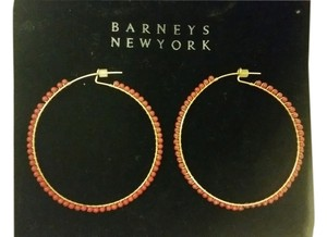 Barneys New York red beaded gold hoop earrings