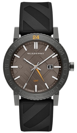 Burberry Burberry Unisex Swiss The New City GMT Black Check Rubber Strap Watch 42mm BU9341