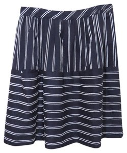 Anthropologie Maeve Wear To Work Anthro Stripes Striped Navy White Full Pockets Skirt