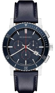 Burberry Burberry Watch, Men's Swiss Chronograph Blue Leather Strap 42mm BU9383