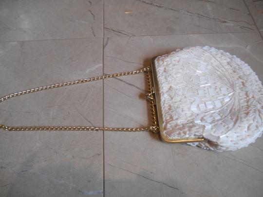 Other Evening Wedding Purse Formal Prom Dance Princess Beading Beaded Lined Satin Classic Gold Clasp Alligator Chain 20s Creamy White Clutch