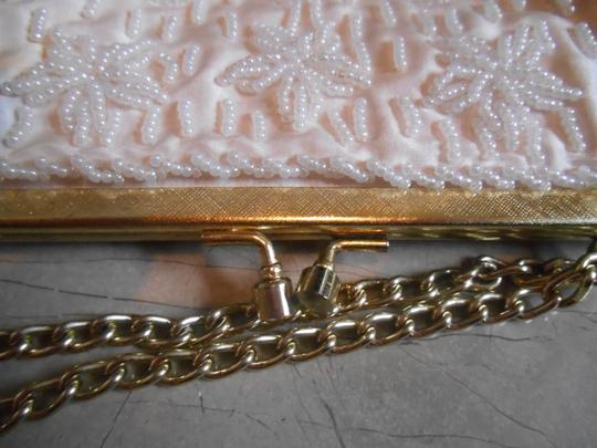 Other Evening Wedding Purse Formal Dressy Prom Dance Princess Beading Beaded Lined Satin Classic Gold Clasp Alligator 20s Creamy White Clutch