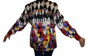 Escada--Margaret Loy Silk Horse Racing Jockey Top Multi--horses