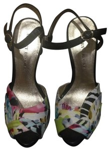 Audrey Brooke Black And Color Print Sandals