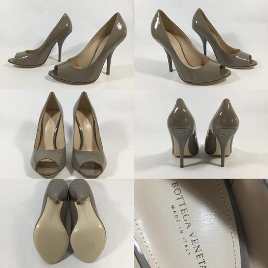 Bottega Veneta Patent Leather Woven Heel Gray Pumps