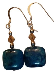 NEW - Blue agate and smokey quartz earrings sterling silver