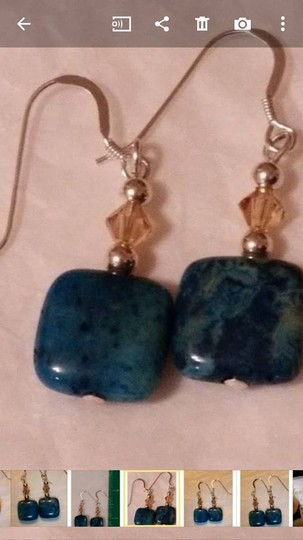 Other NEW - Blue agate and smokey quartz earrings sterling silver