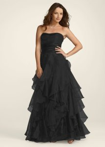 David's Bridal Black Organza F14196 Feminine Bridesmaid/Mob Dress Size 12 (L)