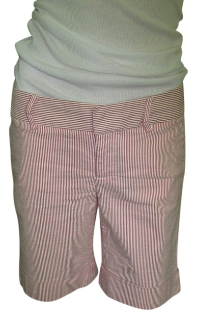 Zara Preppy Nautical Knee Length Pockets Front Back Shorts Pink and White striped