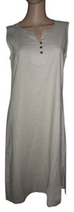 khaki Maxi Dress by Appleseed's Linen Brown Buttons Cool And Comfy Sleeveless