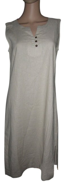 Item - Khaki Linen Brown Buttons Cool and Comfy Sleeveless Knee Length Casual Maxi Dress Size Petite 8 (M)