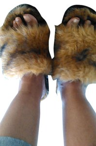 Other Slide Whiskey faux fur Mules