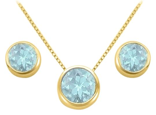 LoveBrightJewelry March Birthstone Aquamarine Pendant and Stud Earrings Set in 18K Yellow Gold Vermeil