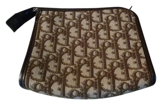 Dior Vintage Christian Dior Cosmetic Make-Up Small Bag Brown Signature Monogram Tapestry Fabric